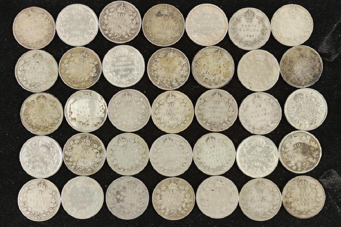 35 ASSORTED CANADA SILVER 10 CENTS DATES RANGE