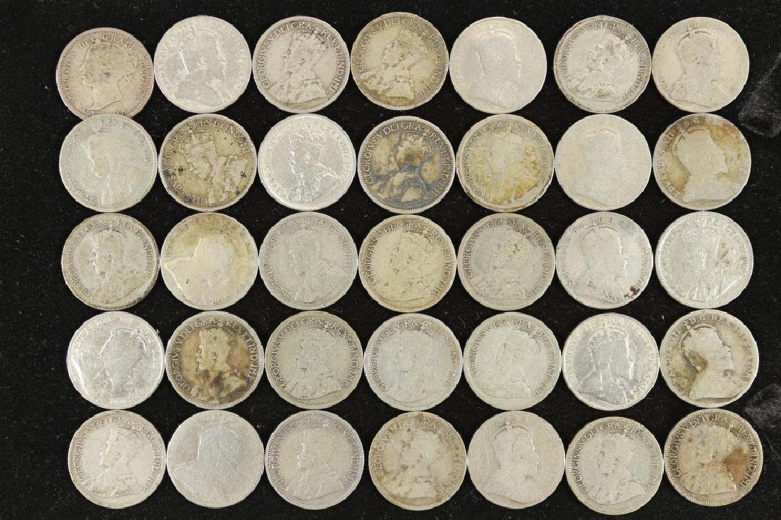 35 ASSORTED CANADA SILVER 10 CENTS DATES RANGE - 2