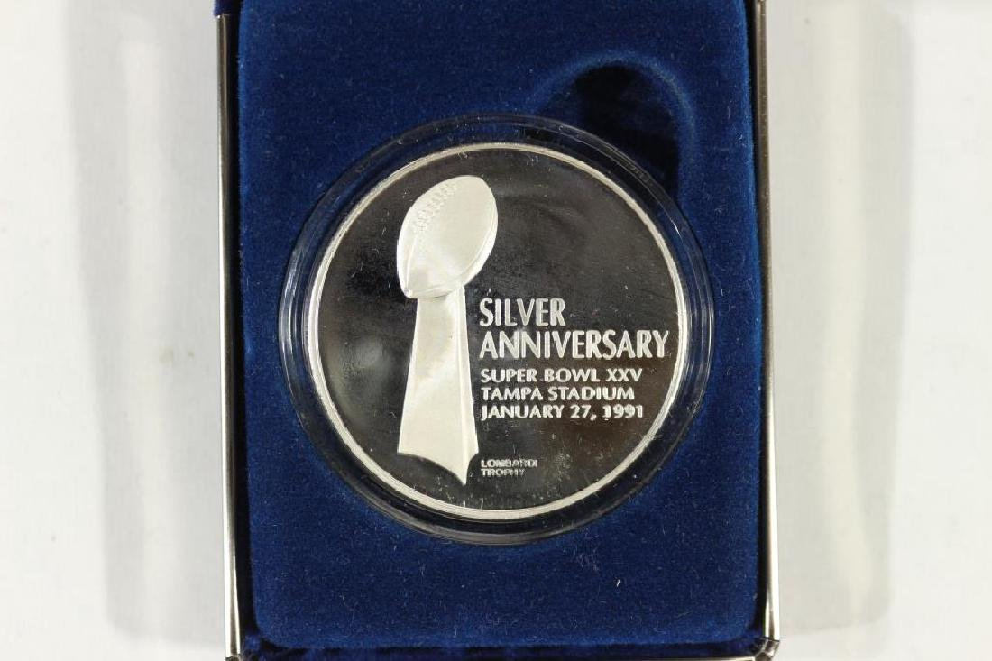 2 TROY OZ. SILVER PROOF ROUND SUPERBOWL 25 - 2