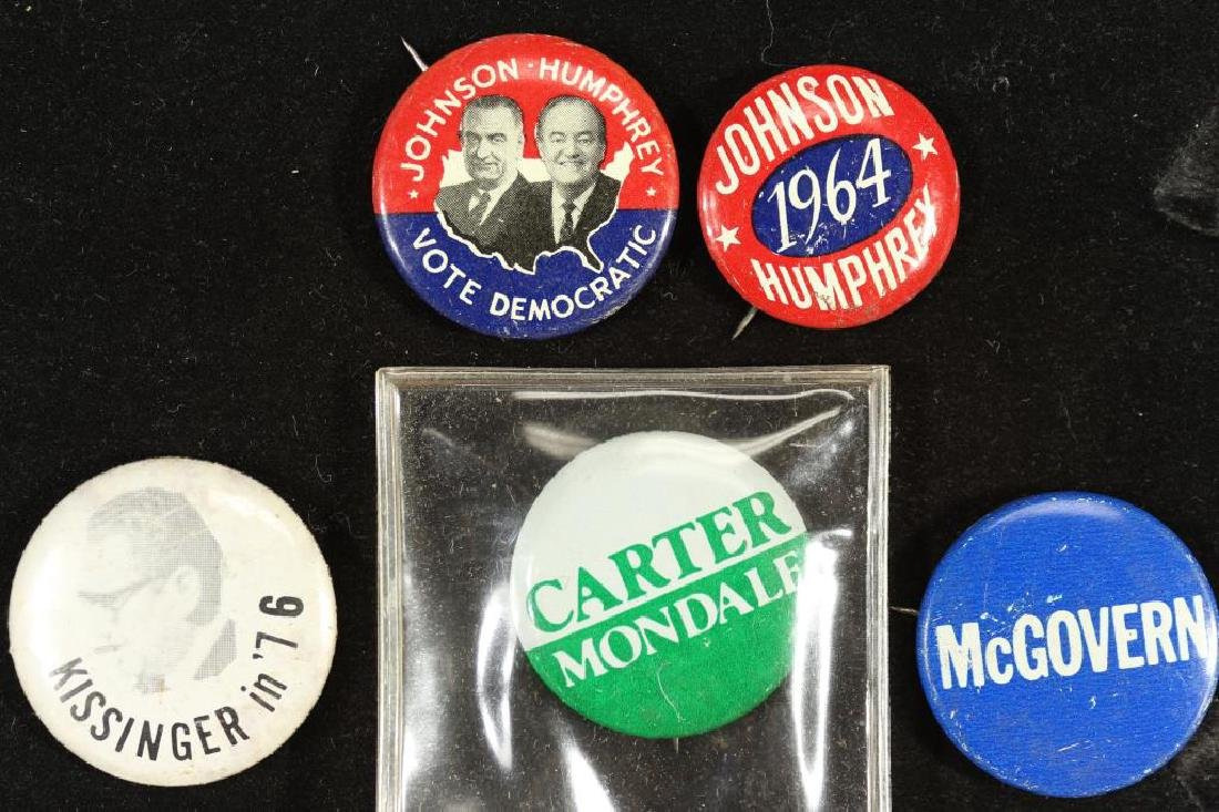 5 VINTAGE POLITICAL BUTTONS / PIN BACKS