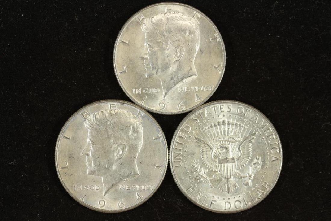3-1964 90% SILVER KENNEDY HALF DOLLARS