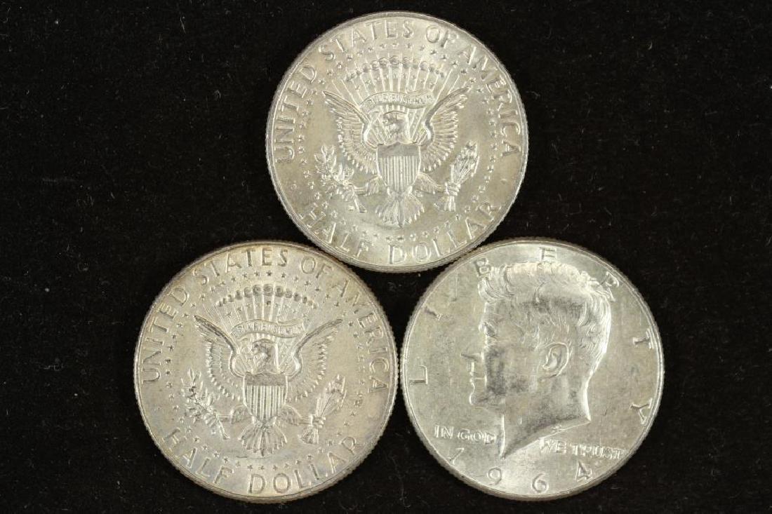 3-1964 90% SILVER KENNEDY HALF DOLLARS - 2
