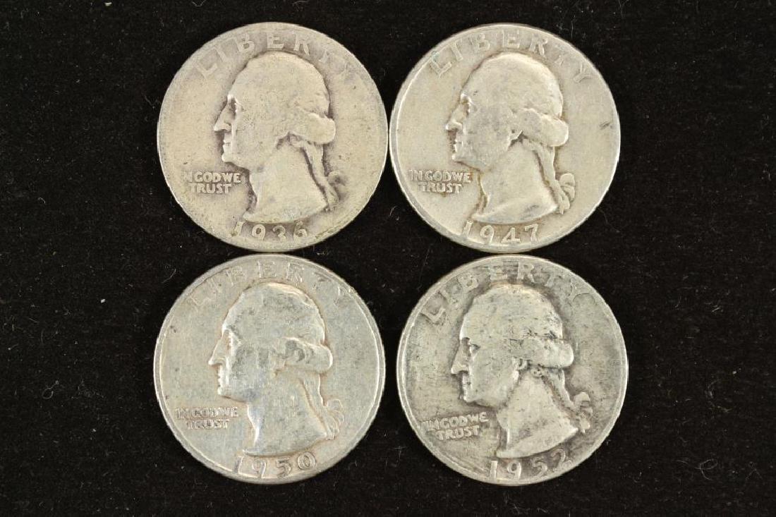 1936,47,50-D & 52-D WASHINGTON SILVER QUARTERS