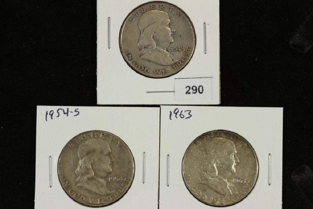 1948,54-S & 63 FRANKLIN HALF DOLLARS
