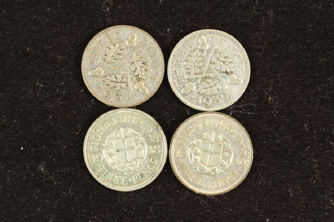 1931,32,38 & 40 GREAT BRITAIN SILVER 3 PENCE