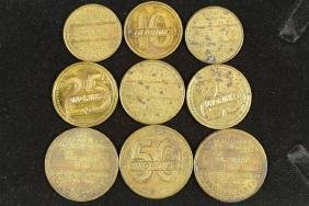 9 VINTAGE BRASS DRINK TOKENS FROM THE EXCLUSIVE