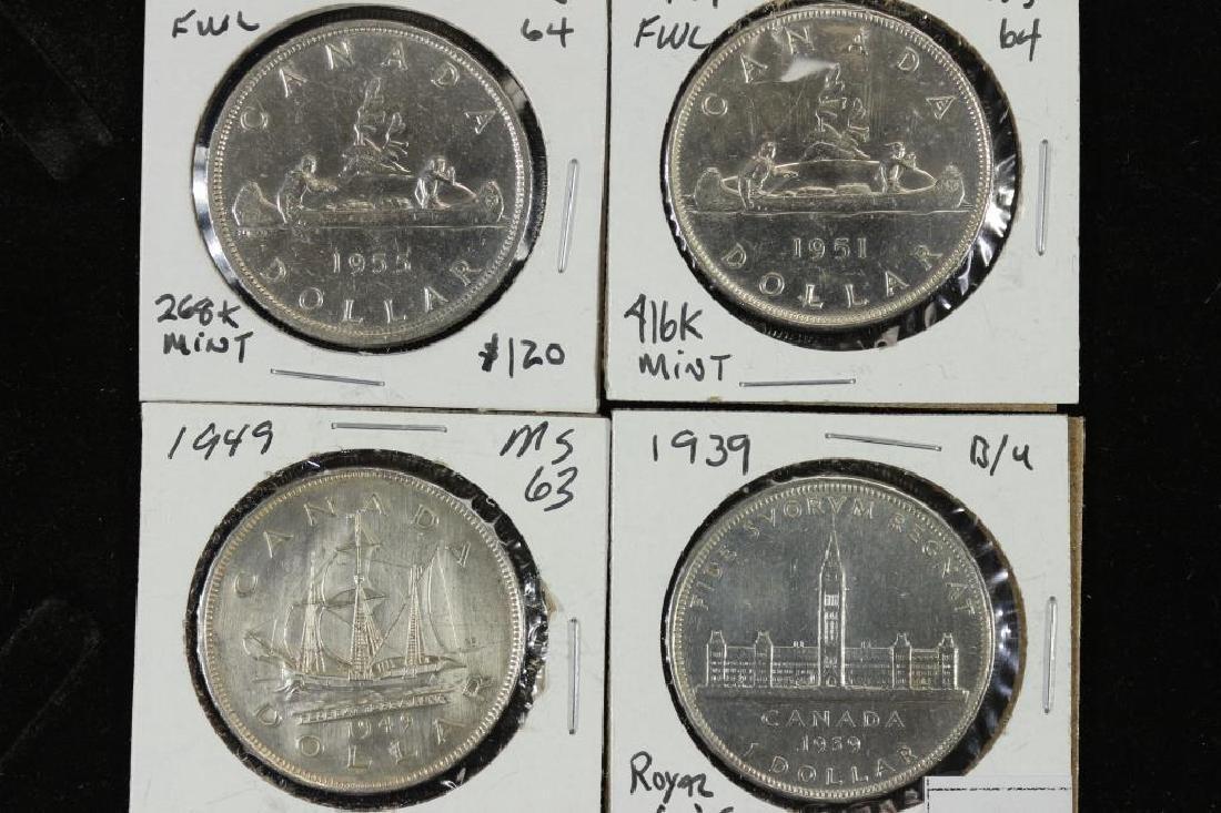1939,1949,1951 & 1955 CANADA SILVER DOLLARS