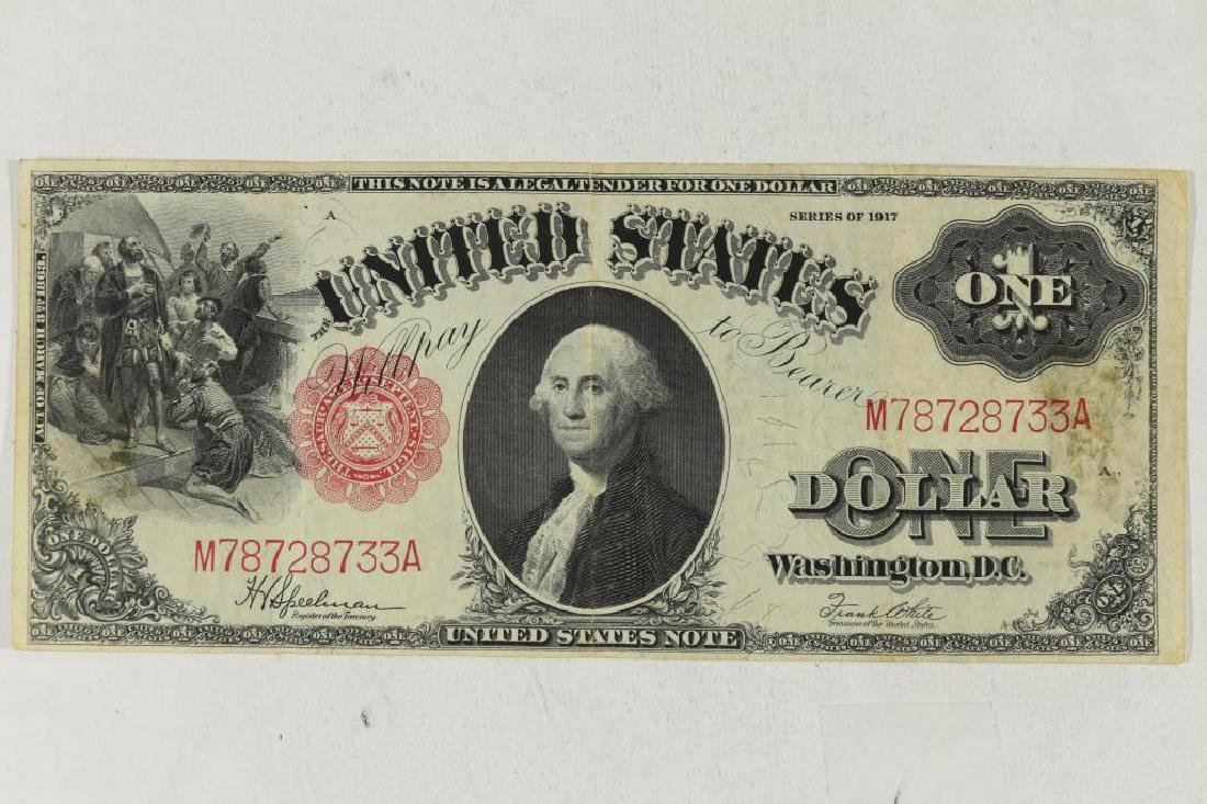 1917 US LARGE SIZE $1 LEGAL TENDER BILL RED SEAL