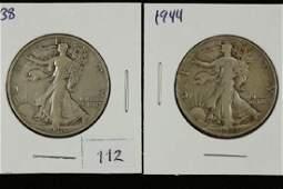 1938  1944 WALKING LIBERTY HALF DOLLARS
