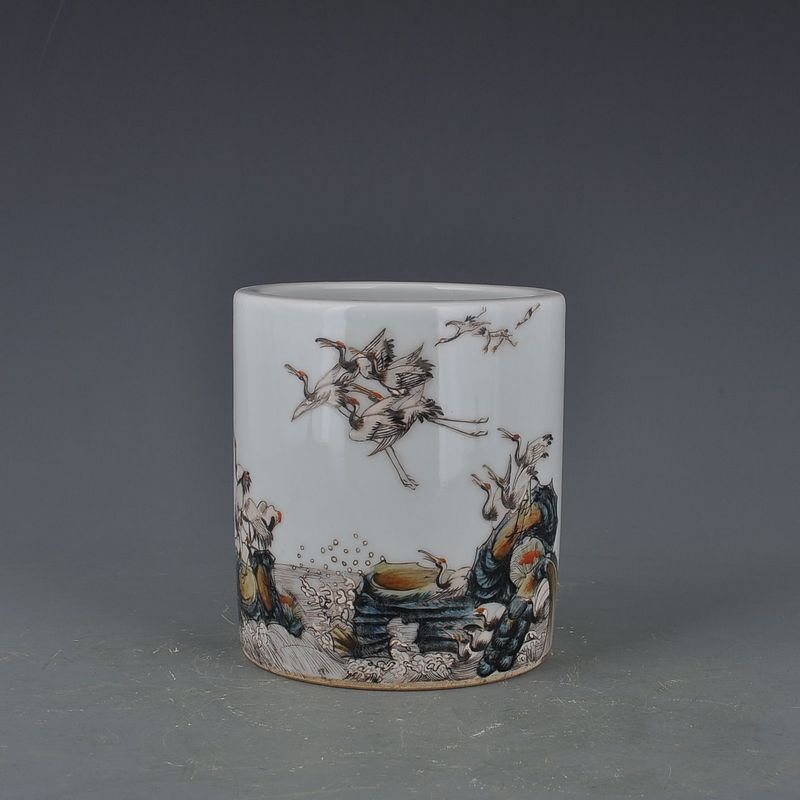 Chinese Pastel Brush Pot