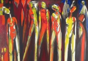 Arnold Weber, Am., 1931-2010, Figures in Red