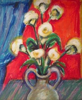 Cont'l Sch, Mid-20th c. Flowers in Vase, Gouache