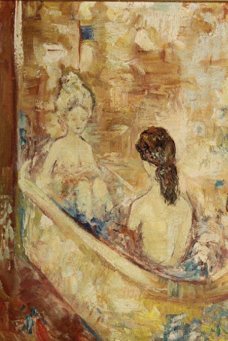 Am. Sch., 20th c., Nudes in Bath, O/C
