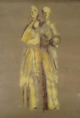 Ira Matteson,Am.,2 Female Figures,gouache on paper