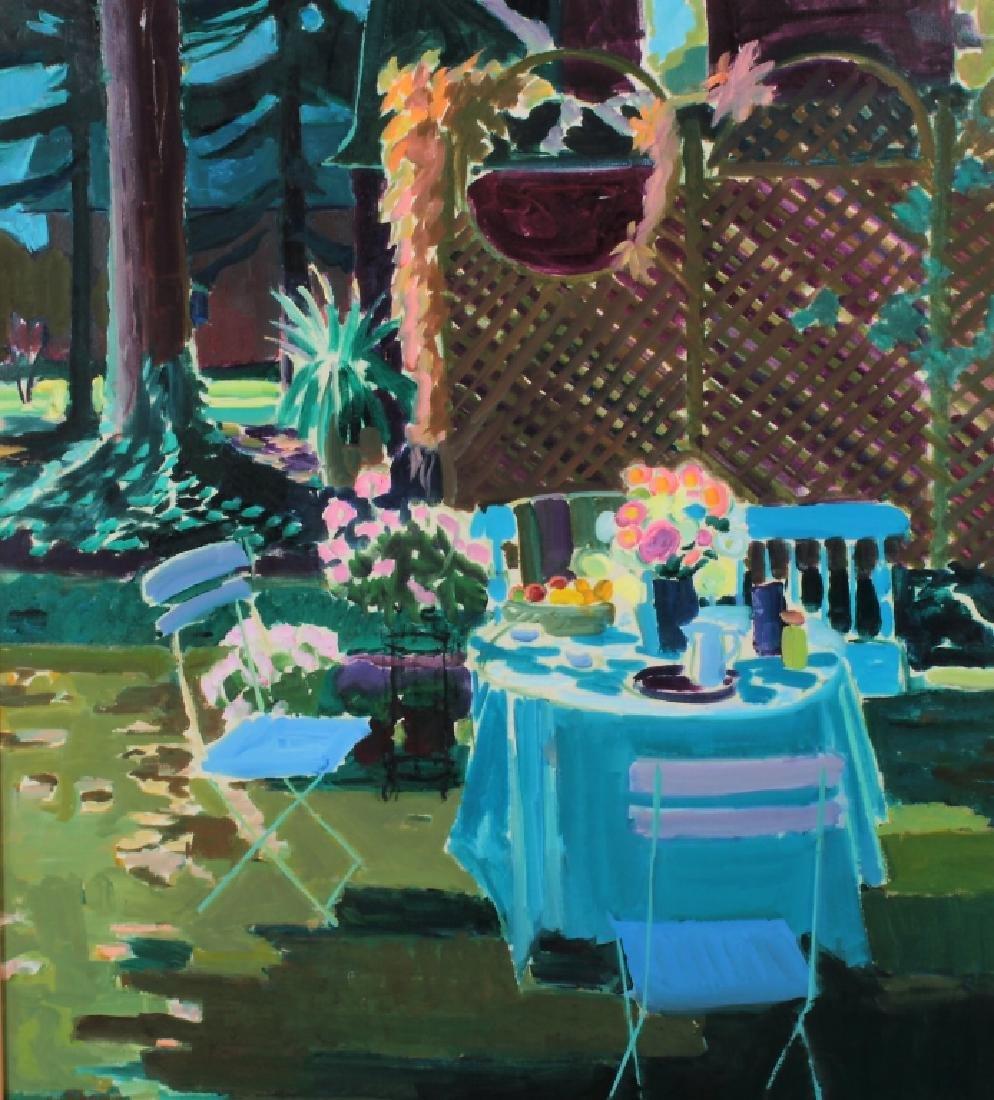 Joseph O'Sickey, Am.,Table,Trellis Blue Cloth,o/c