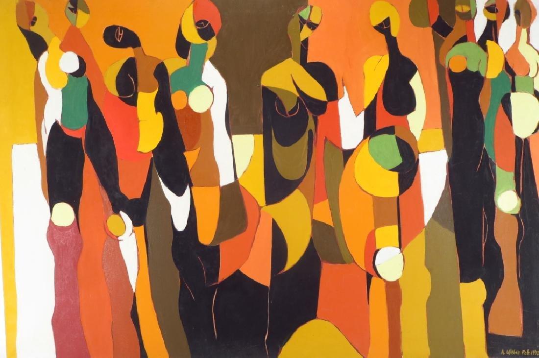 Arnold Weber, Am., 1931-2010, Orange with Females
