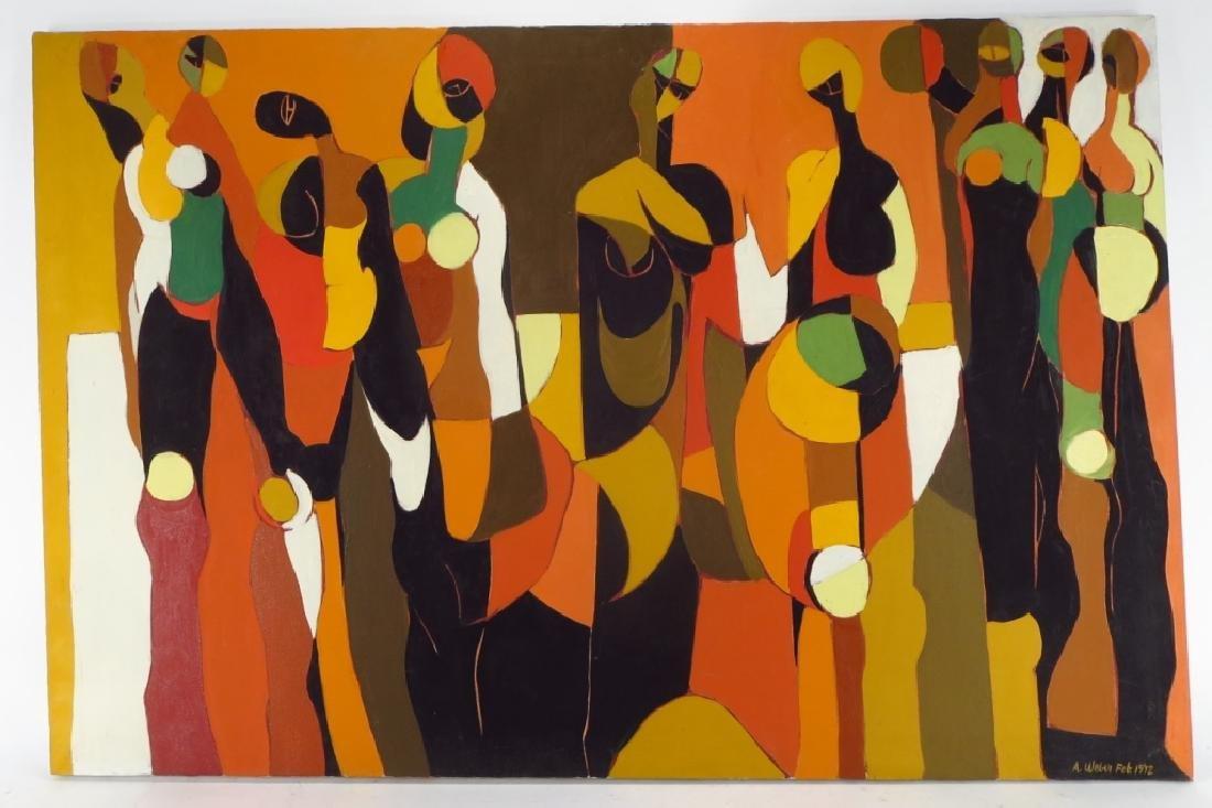 Arnold Weber, Am., 1931-2010, Orange with Females - 2