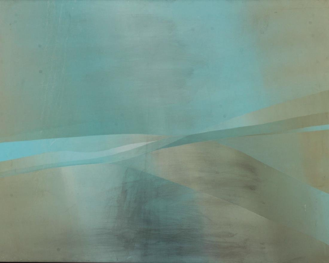 Jim Bird, 20th C., Abstract in Pale Blue/Green,