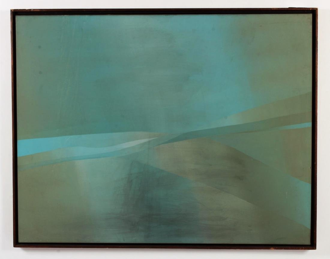 Jim Bird, 20th C., Abstract in Pale Blue/Green, - 2