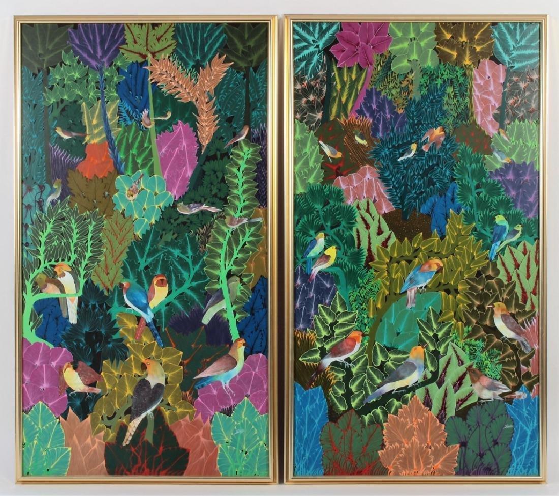 Pair of Haitian Paintings, Tropical Scenes, O/C.
