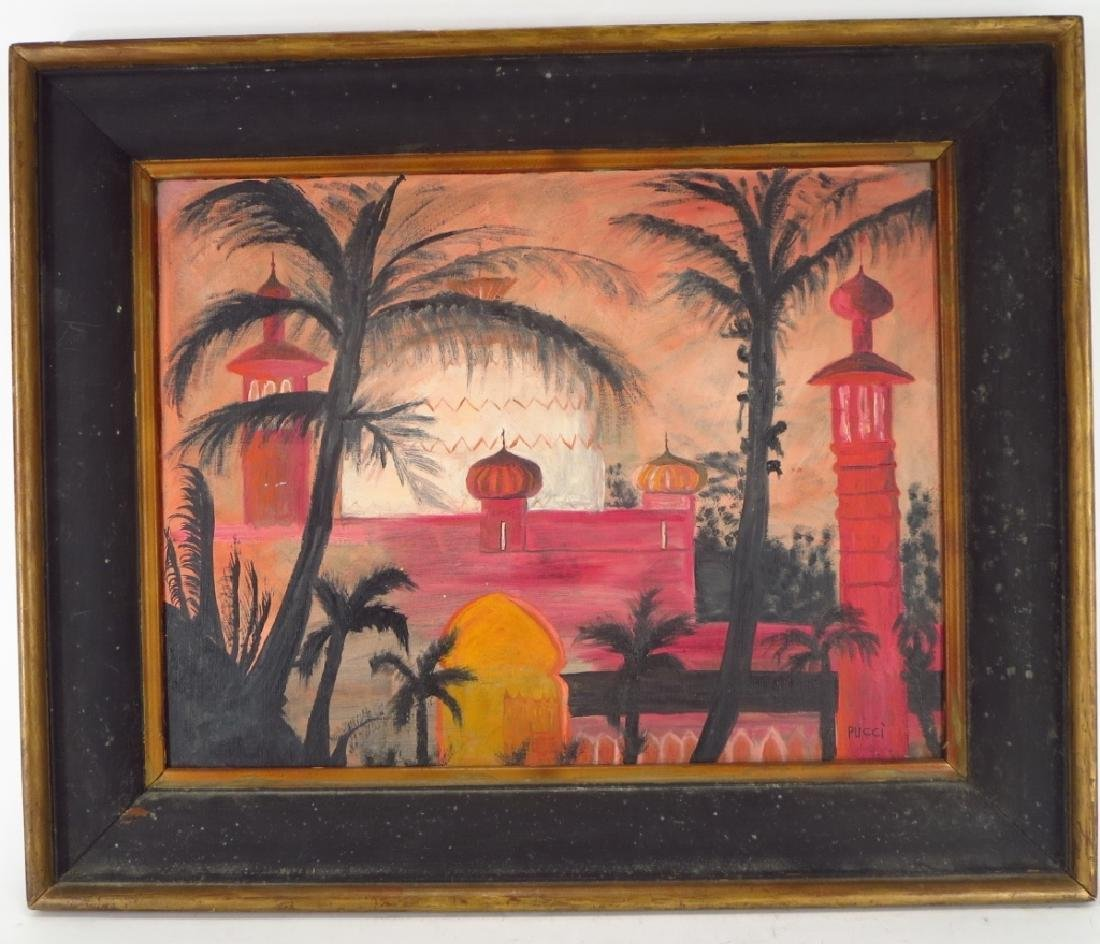 Pucci, Exotic Landscape, Oil on Board, Signed - 2