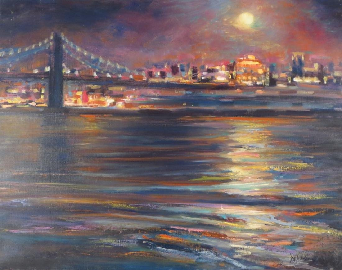 Sandra Rubel, Am., 20th C., Bridge at Night