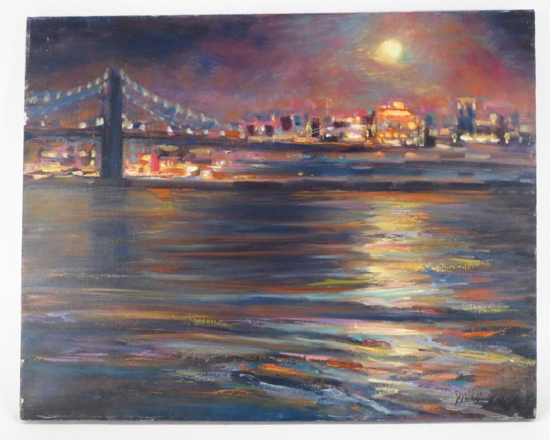 Sandra Rubel, Am., 20th C., Bridge at Night - 2