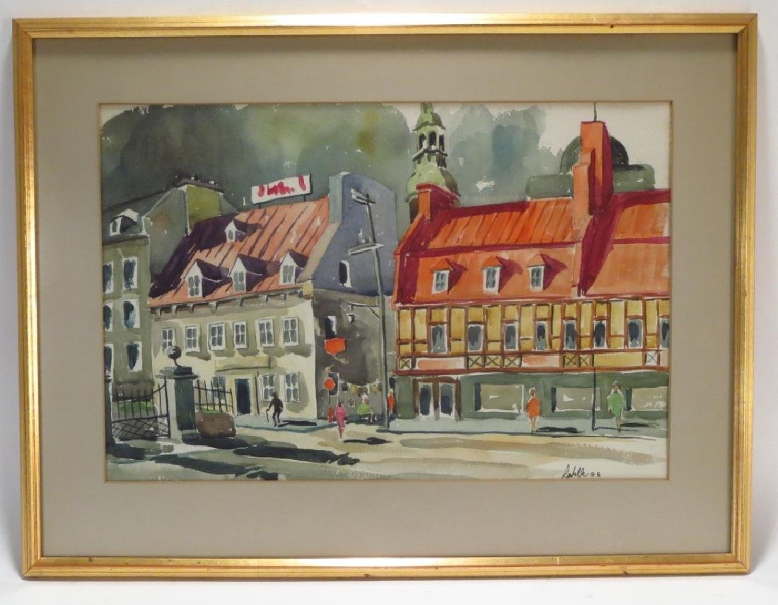 Labelle, French Street Scene, WC/P. Signed.