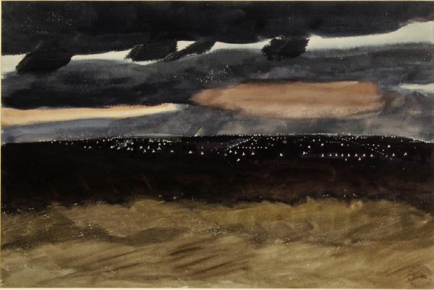 """Charles Burchfield, 1893-1967, """"Night Scene"""", W/C"""