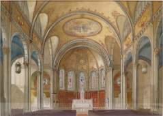Am. Sch, mid-20th, Int. Willimantic Church, W/C