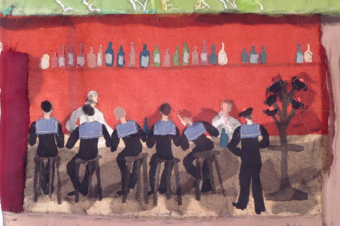 """Beldy Fabric Collage """"Le Neant"""", Sailors 20th c."""