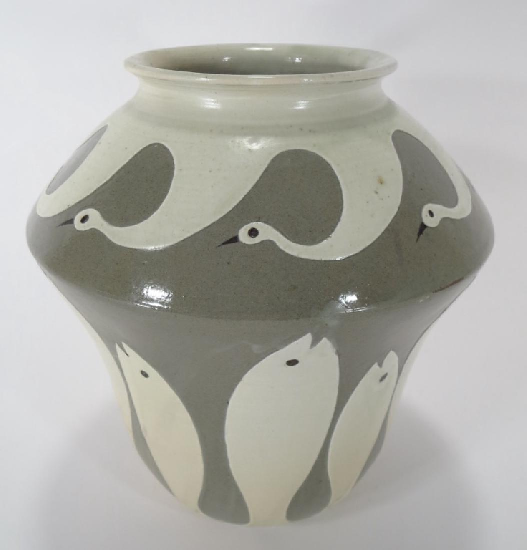 Shin Sang Ho, Korean,Fish and Swan Vase