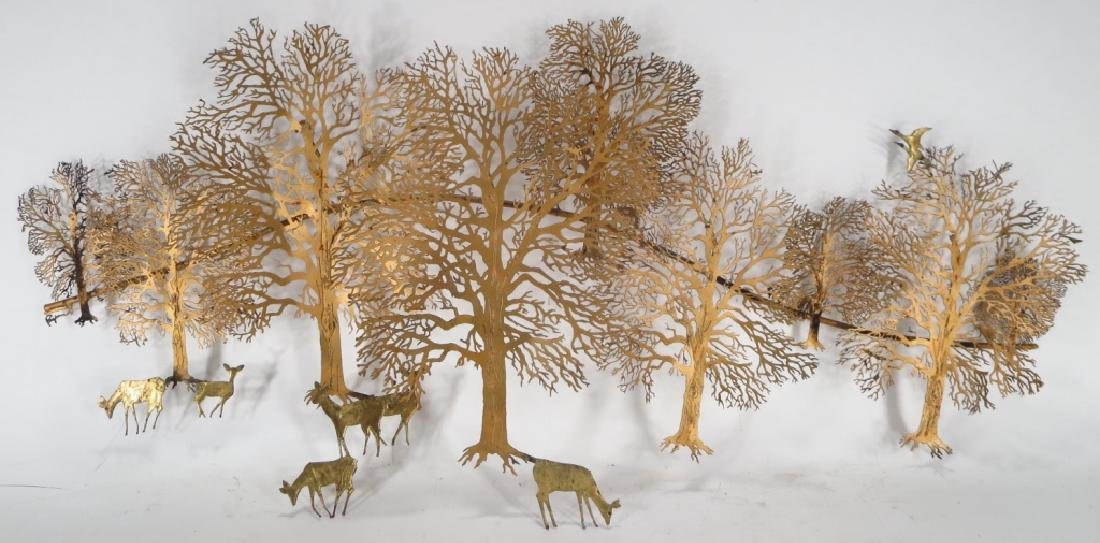 Midcentury Sculpture, Trees and Deer, signed Bjorn