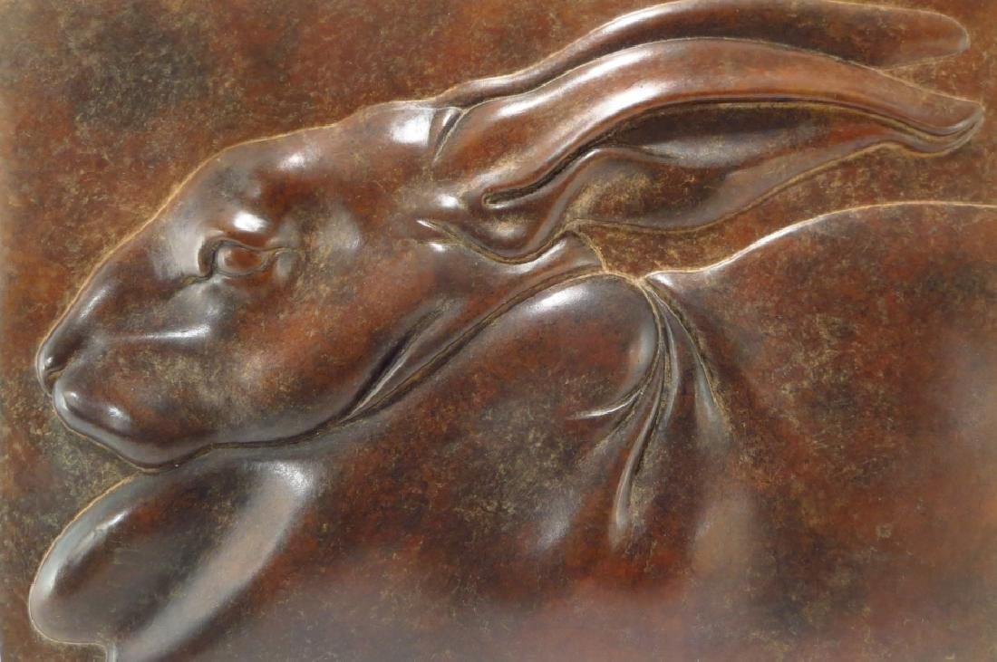 Susan Smyly, Am.,20th C.,Hare,bronze bas relief