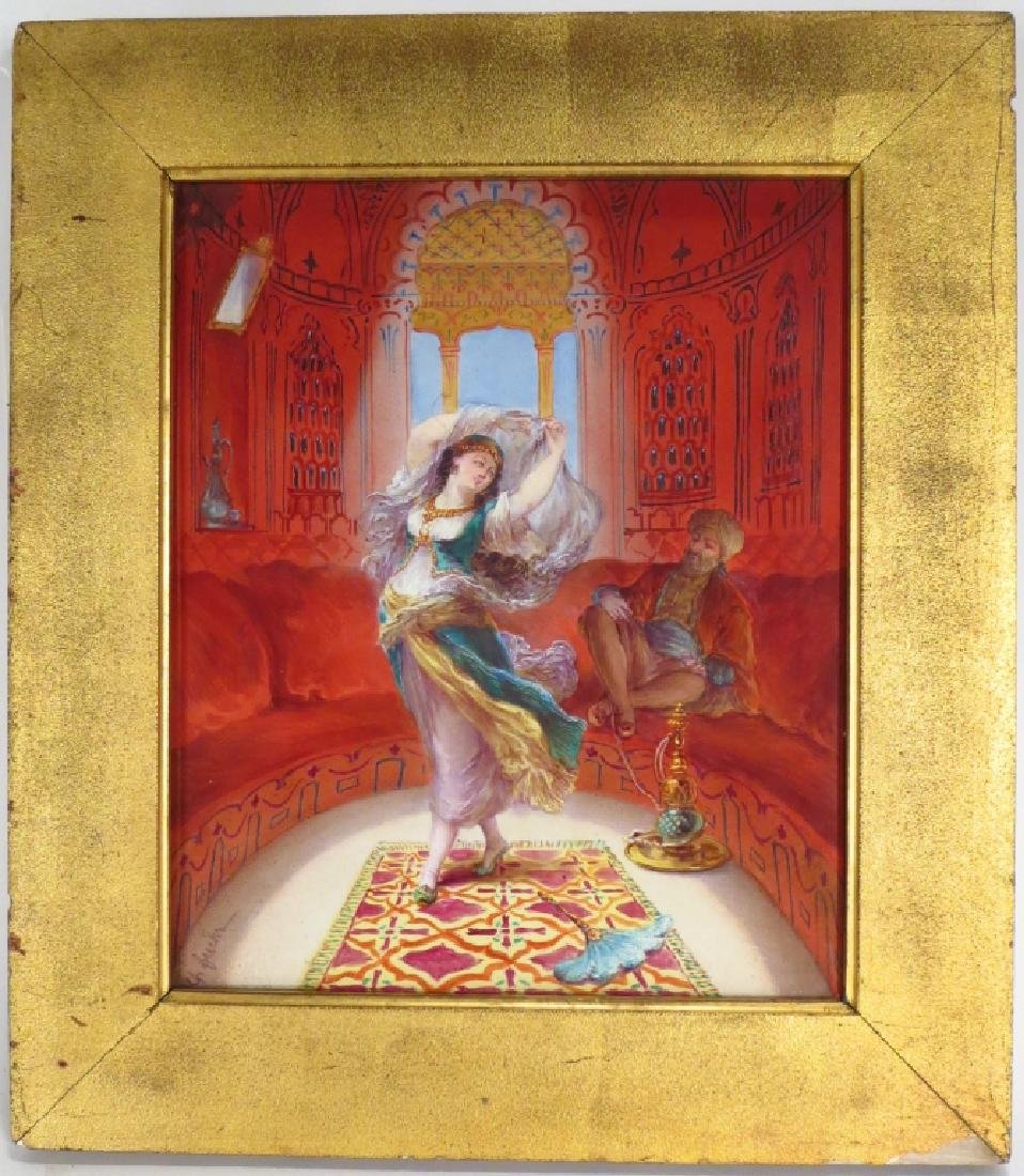 Orientalist Painting on Ceramic,20th C.,signed