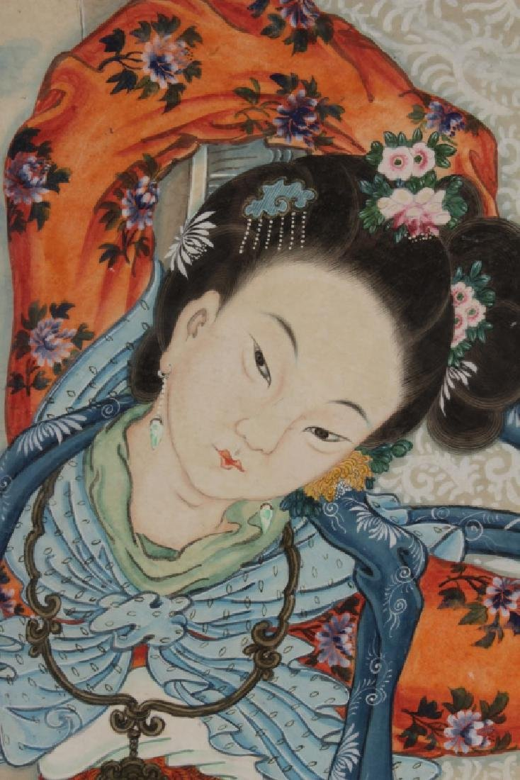 Large Asian Portrait of Lady, w/c on paper