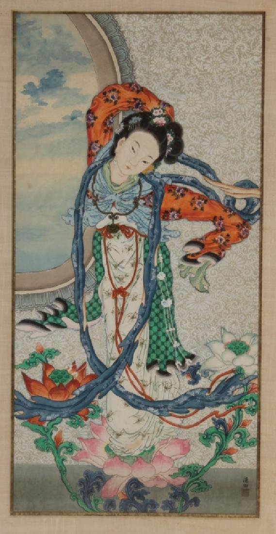 Large Asian Portrait of Lady, w/c on paper - 2
