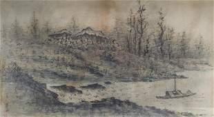 Yi Sang-Bom,Kor.,Landscape,ink on paper,sealed
