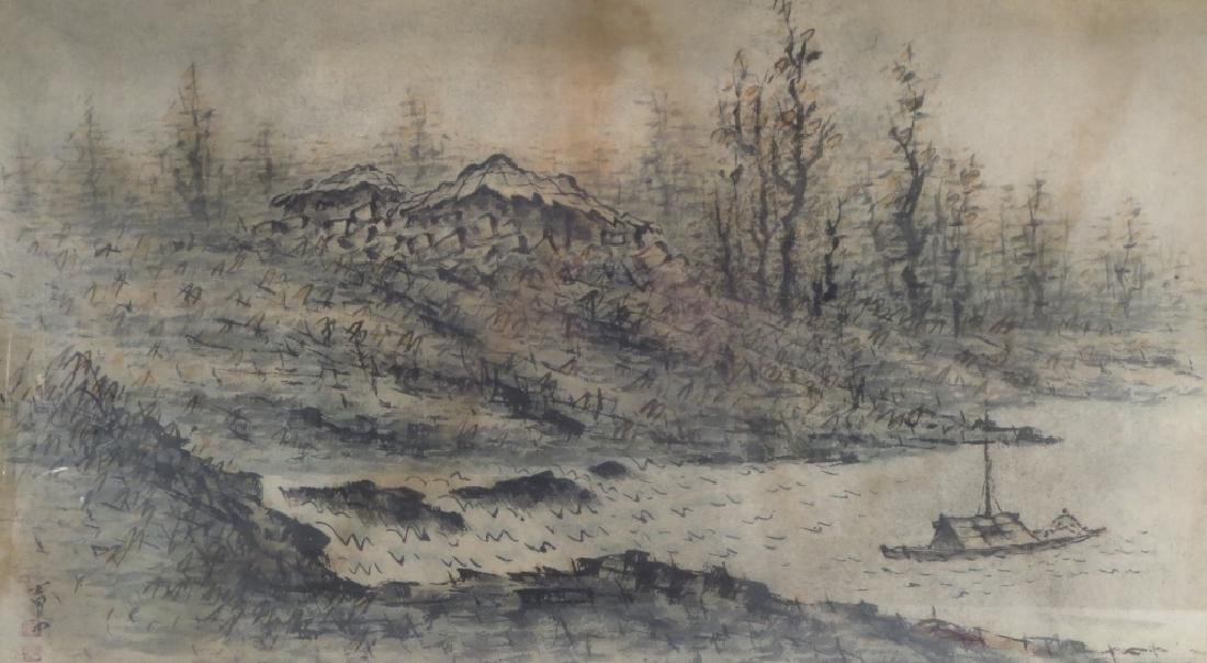 Yi Sang-Bom,Kor.,Landscape,ink on paper,sealed