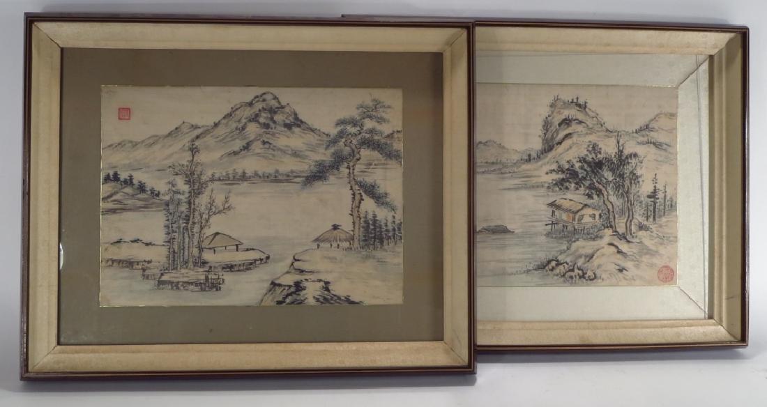 Hur So-Chi,Kor.,2 Landscapes,ink on paper,sealed