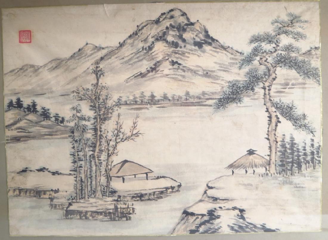 Hur So-Chi,Kor.,2 Landscapes,ink on paper,sealed - 2