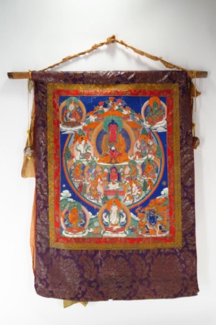 Tibetan Thanka Red Buddha Tempera & Gilt 20th c.