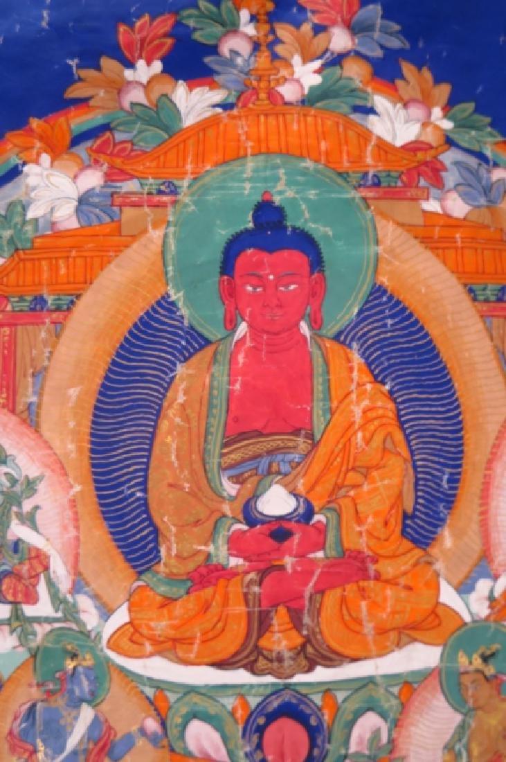 Tibetan Thanka Red Buddha Tempera & Gilt 20th c. - 2