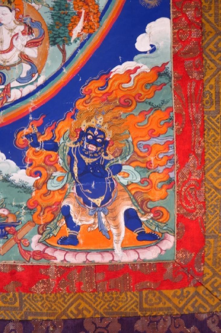 Tibetan Thanka Red Buddha Tempera & Gilt 20th c. - 3