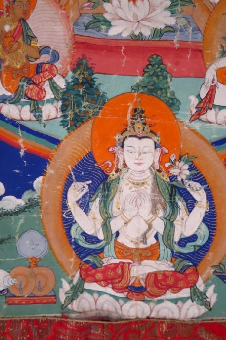 Tibetan Thanka Red Buddha Tempera & Gilt 20th c. - 4