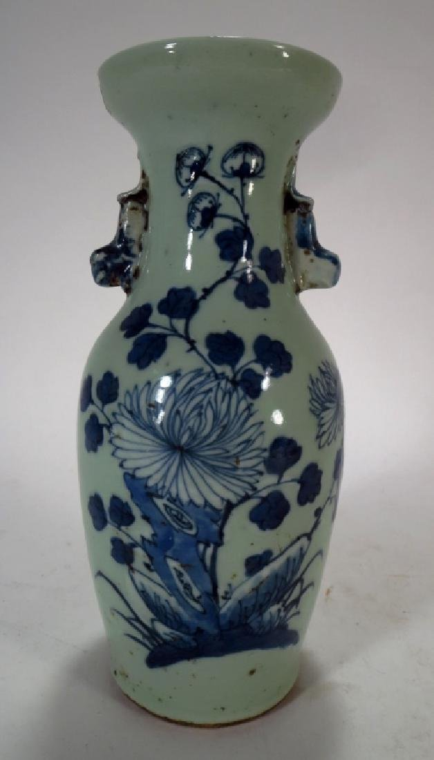 Chinese Blue & White Pottery Vase, 18th-19th C.