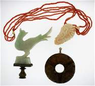 Chinese Bi, Jade Finial and Coral Necklace