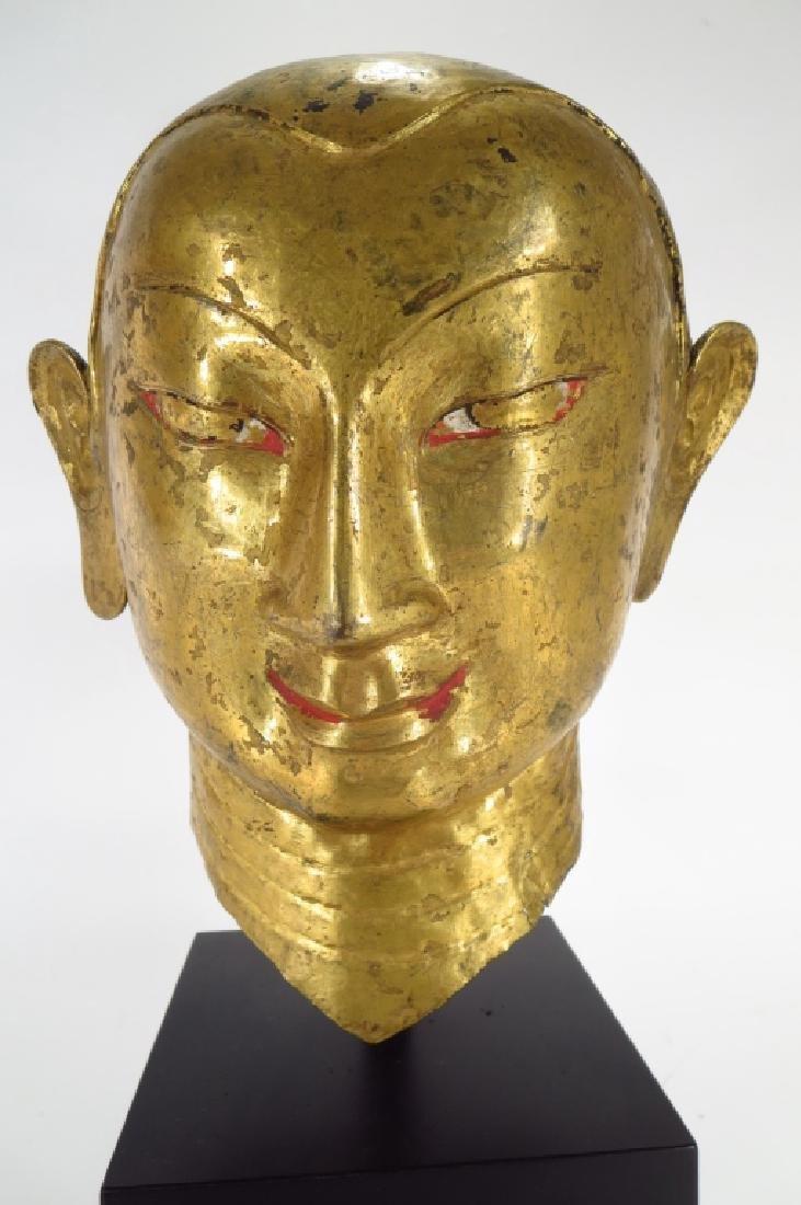 Tibetan Gilt Copper Alloy Head of Lama, 15-16th C.