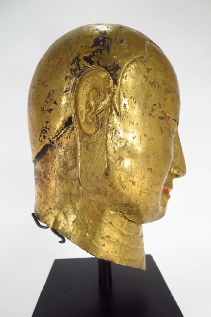 Tibetan Gilt Copper Alloy Head of Lama, 15-16th C. - 2