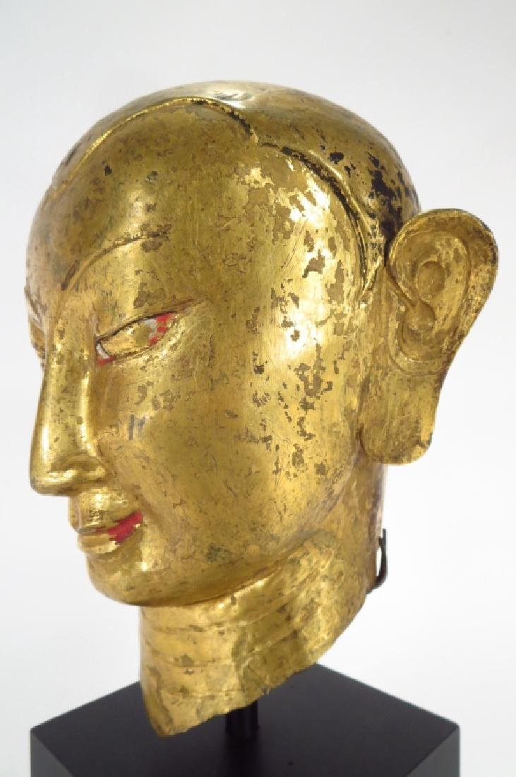 Tibetan Gilt Copper Alloy Head of Lama, 15-16th C. - 4